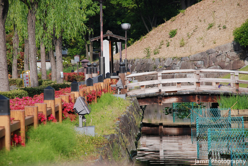 A view along the moat.<br /> Of Shoryuji Castle in Nagaokakyo.