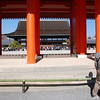 Looking through<br /> A man looks through from the outer courts towards the throne room at the Kyoto Imperial Palace.