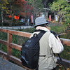 Serious Photographer.<br /> This guy is using a Hassleblad medium format film camera, to take photos of a pond in Arashiyama.