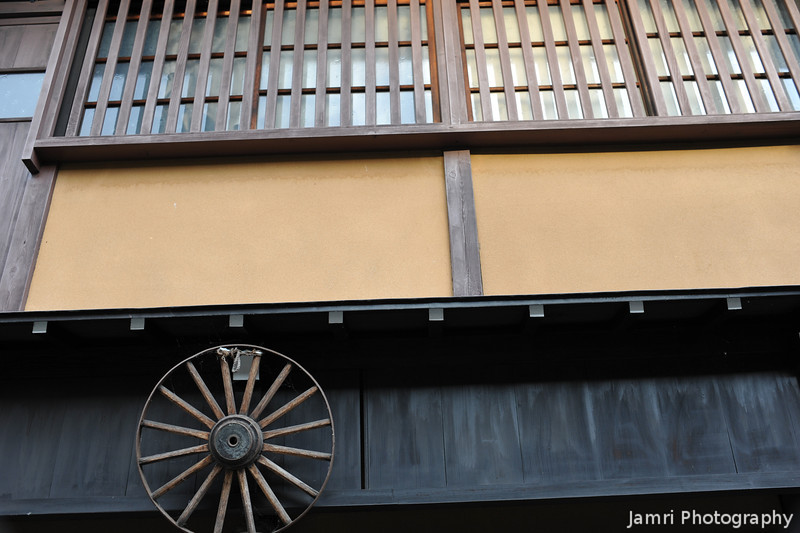 "House with Wagon Wheel.<br /> In Takayama's ""Little Kyoto"" area."