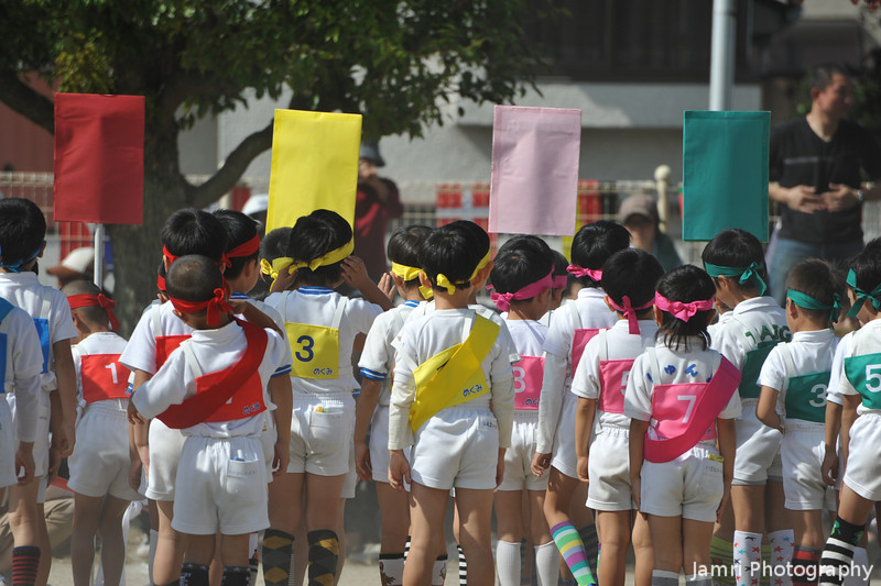Getting ready for the relay.<br /> The Nien-cho (turning 6 in the school year) boy's relay was probably the most serious competition of the day!
