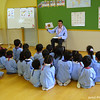Back in class.<br /> The English programme at Megumi Kindergarten has started again for the 2010-11 School year.<br /> Photo by Mitsuko Fujita.