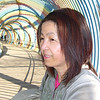 In the Rainbow Tunnel.<br /> Ritsuko poses for a shot in the rainbow tunnel at a park in Takino.