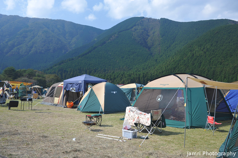 Tent City.<br /> There were a lot of campers at Lake Tanuki for the Sports Day long weekend.