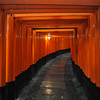 Towards a lantern.<br /> The frequency of the torii at it's highest here. This is where both the iso6400 and f/2.8 came in handy to make this shot hand held. On the D80 I would have had to use a tripod to make this kind of shot.