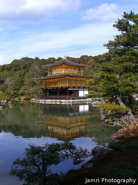 Mirror Reflections.<br /> At Kankaku-ji (The Temple of the Golden Pavilion) in Kyoto.