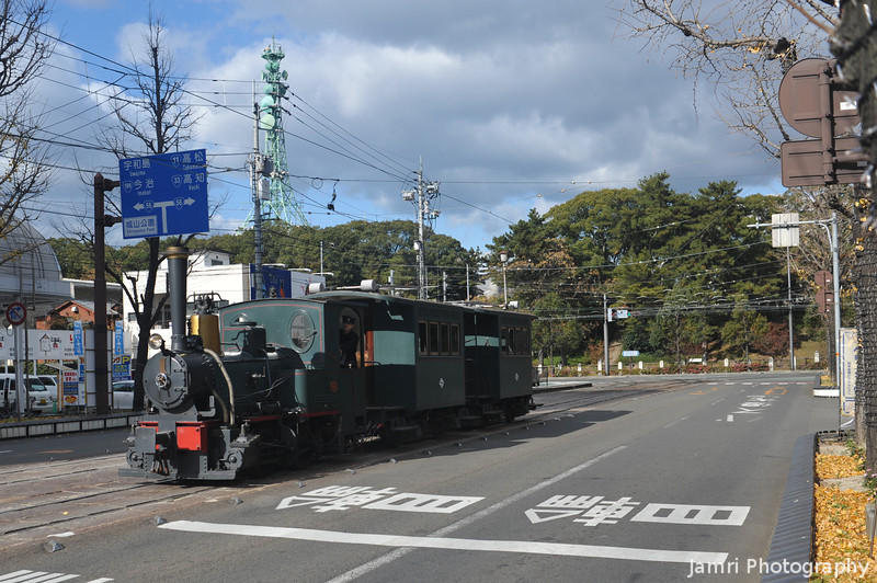 The Botchan Rensha.<br /> This diesel powered tram is a replica of the steam powered ones that used to run on the streets in the days of Botchan (a novel set in Matsuyama early 1900s).