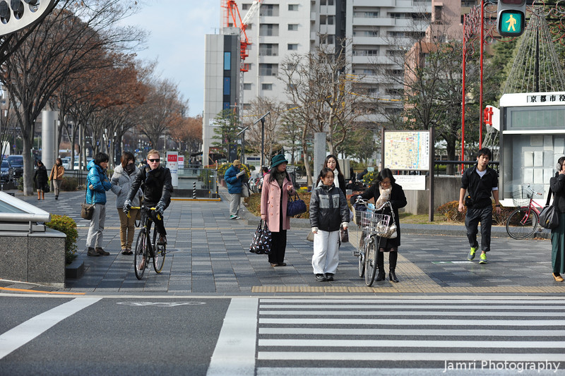 People at a Cross Walk.<br /> Near the Kyoto City Hall.