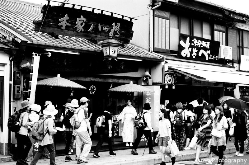 The busy main street of Arashiyama.<br /> Note Film Shot: Nikon F80 + 50f/1.8 + Orange Filter + Fujifilm Neopan Acros