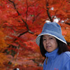 Ritsuko in the Momiji (Japanese Maple) Tunnel.<br /> At Komyo-ji (a Buddhist Temple) in Nagaokakyo.