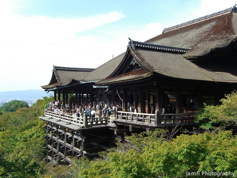 Kiyomizu Temple in October.<br /> About 3 weeks before the autumn colours really show.
