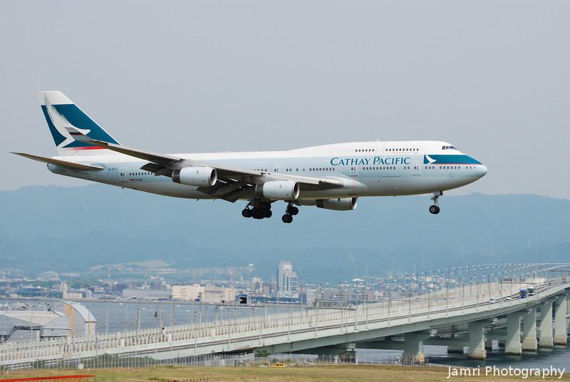 Cathay coming in to land at Kansai.