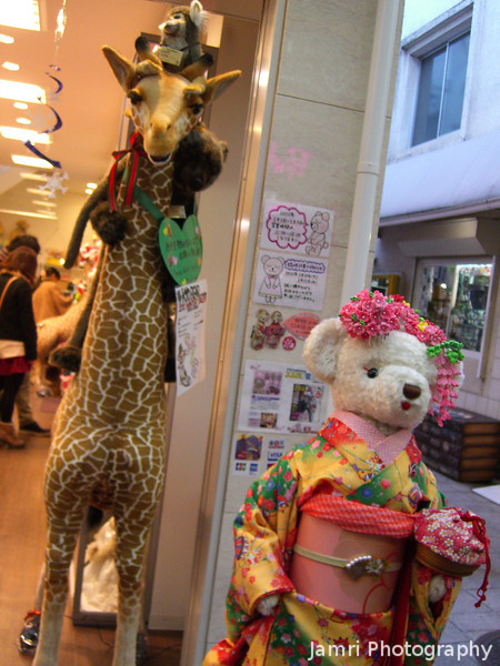 A Giraffe and a Kimono Clad Bear.<br /> Not really sure if this has anything to do with Christmas, but it was cute.