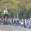 A Passing Procession.<br /> In the grounds of Osaka Castle on Culture Day.
