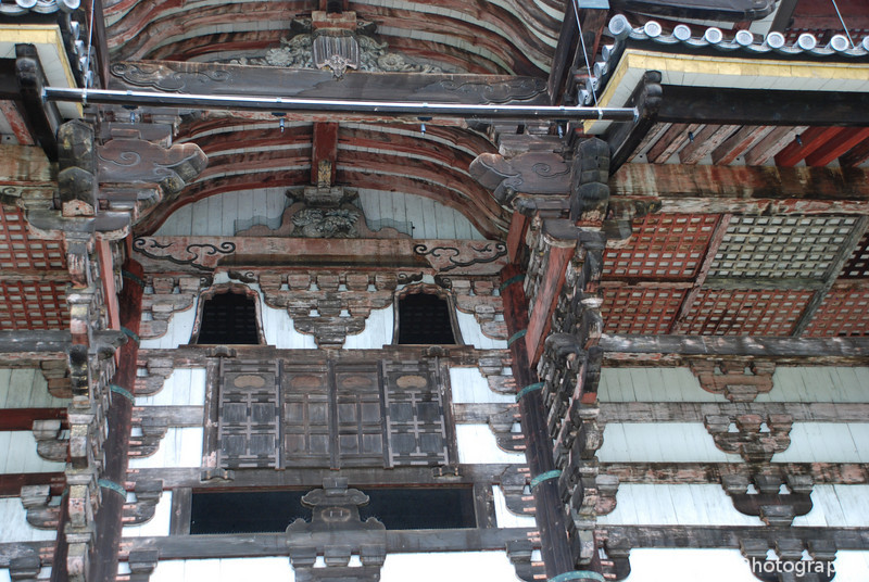 Todai-ji Detail.<br /> Up close to Todai-ji the World's biggest wooden building.