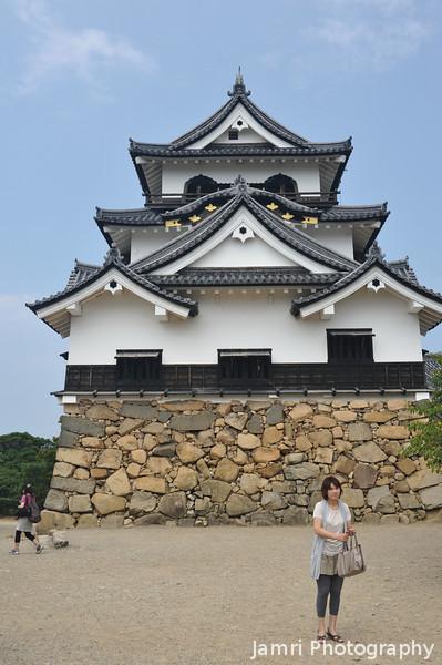 A Portrait of the Main Building.<br /> Of Hikone-jo (Hikone Castle), Hikone, Shiga.