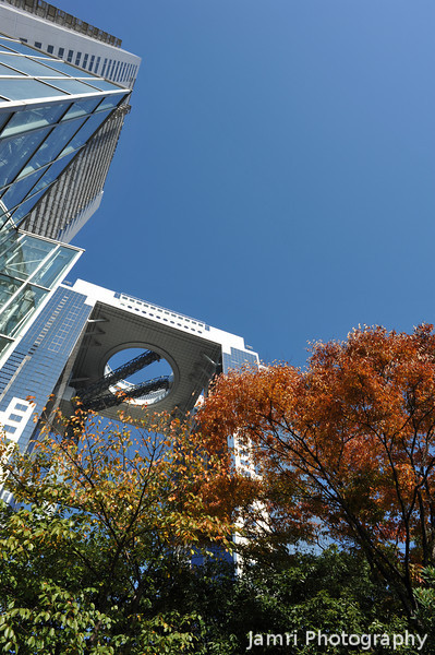 Umeda Sky Building and Westin Hotel.<br /> The wide angle makes the Umeda Sky Building look smaller than the sightly closer Westin Hotel, when actually the Umeda Sky Building is way bigger.
