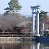 Towards the Big Torii.<br /> The Big Torii (Gate) marks the entrance to the outer part of Nagaoka Tenmangu Shrine.