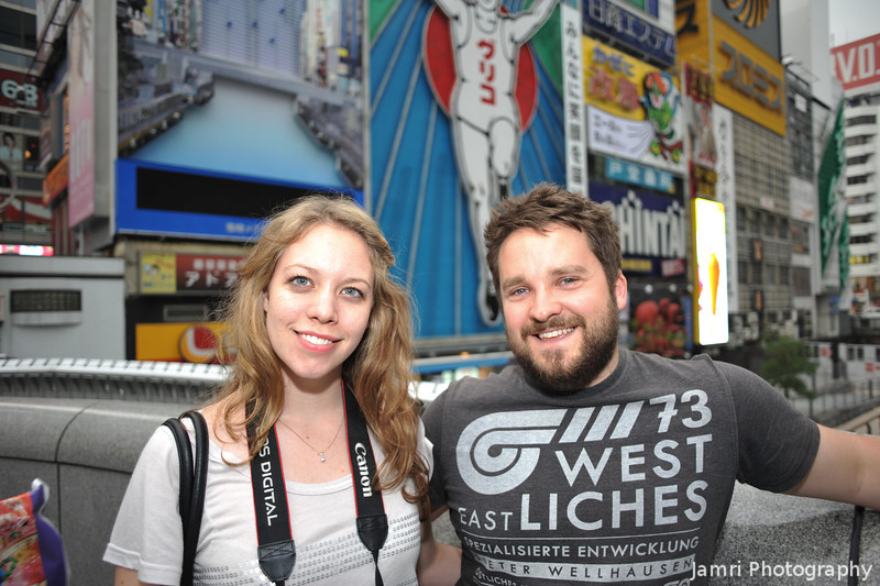 Tess and Nathan on the Dotonbori Bridge.<br /> During our day out in Osaka.