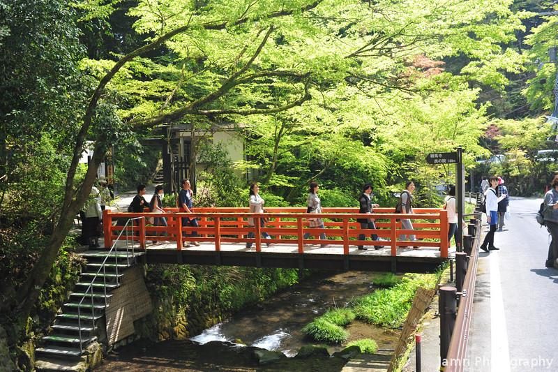 Crossing a Bridge.<br /> In Kibune, Kyoto.<br /> Note: Circular Polarising Filter Used.