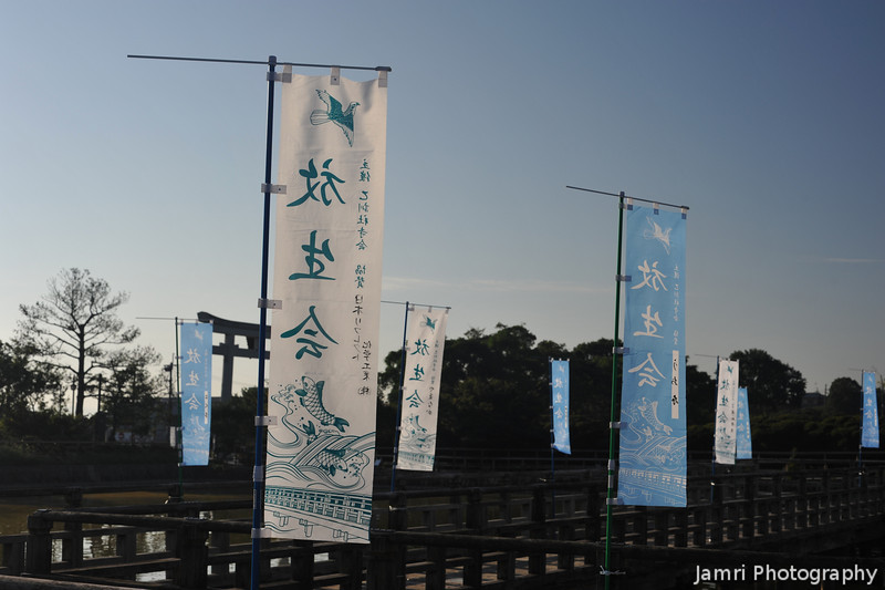 Flags along the walkway.<br /> At Nagaoka Tenmangu Shrine Park.
