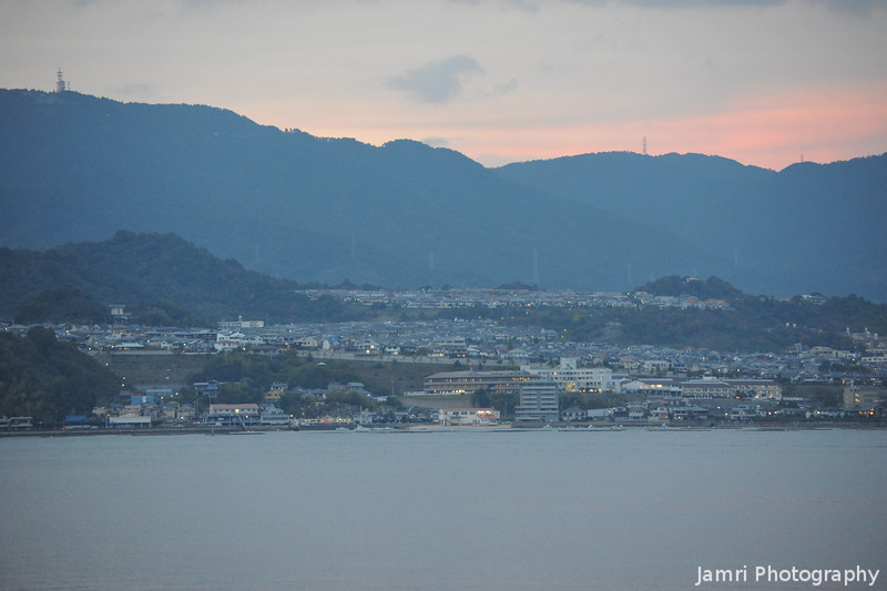 Towards the West.<br /> The mainland of Honshu from Miyajima Island.