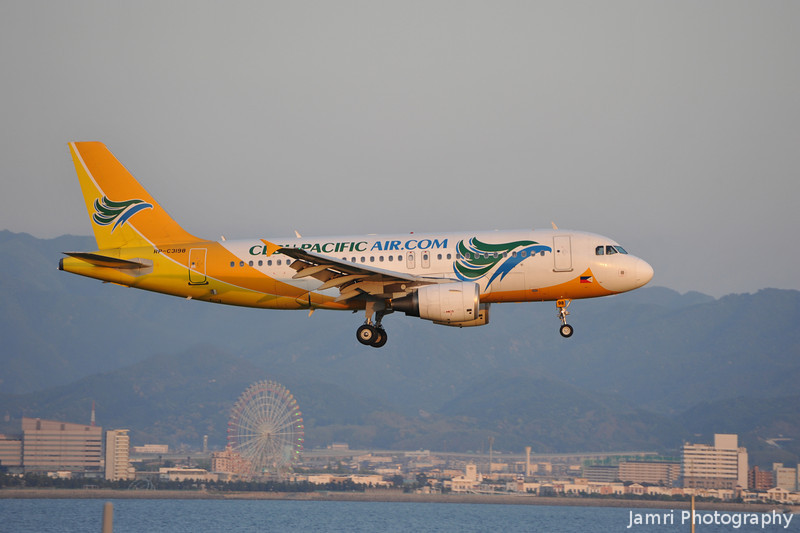 Cebu Pacific Approaching.<br /> The colourful Cebu Pacific (a Philippines base airline) Airbus A319-112 (Rego: RP-C3198) approaches Kansai Airport.