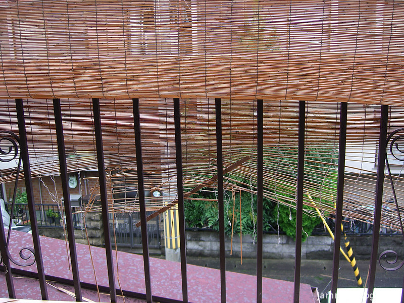 Typhoon Damage.<br /> We had the edge of the Typhoon come past in the night, the only damage was this bamboo screen on our back balcony.