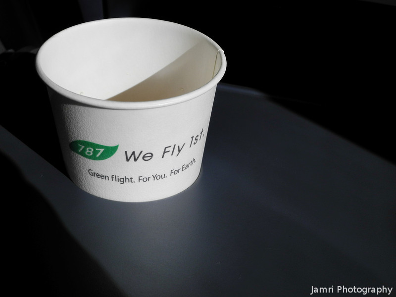 787 Advertisement.<br /> I was flying on a 767, but ANA put a little advertisement on the drinking cups to let everyone know they are first to fly the 787.
