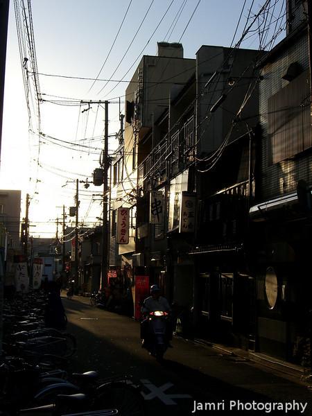 Alley way.<br /> Behind the Rhino Hotel in Saiin, Kyoto.