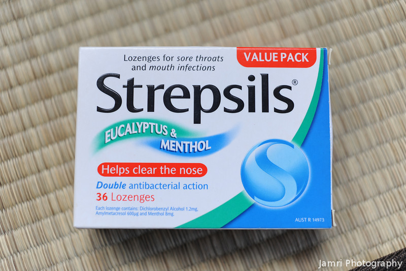 Strepsils.<br /> At the time of getting the new camera, I also caught a flu, and the Japanese cough lozenges don't work and I had run out of the good Australian ones. So I took this photo so my parents could buy me some more. Thank you mum and dad.