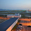 Across the Car Park and out to the Airfield.<br /> The Car Park of the Observation Deck at Kansai Airport.