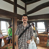 Me in the top floor of Hikone-jo.<br /> Photo by Yuki (a girl who was in front of me in the huge line to the top of the castle who spoke good English. Yuki's father is is the guy behind me with the yellow towel.).