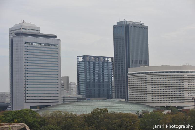 Osaka-jo Hall and Osaka Business Park.<br /> From Osaka Castle.