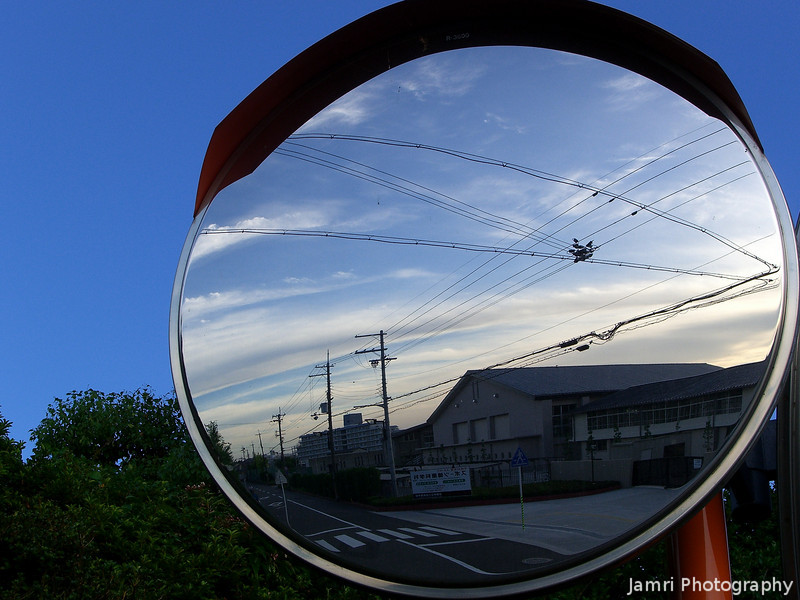 Early morning reflections.<br /> A parabolic mirror near the local high school.