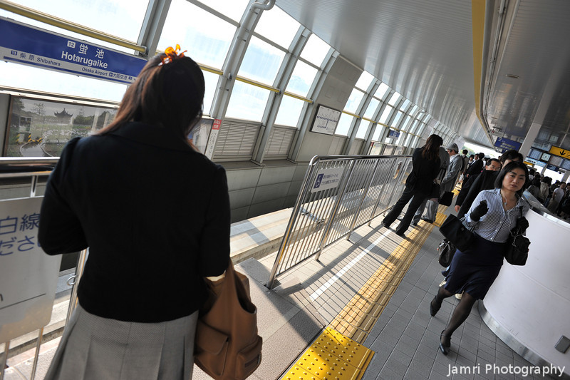 At Hotarugaike Monorail Station.<br /> My first time on the Osaka Monorail, on my way to Itami Airport.