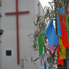 "<A href=""http://en.wikipedia.org/wiki/Tanabata"">Tanabata</A> Wishes near a Church. I've never been to this particular church, we used to ride past it on the way to our house church before we moved the venue to our place. Somebody said it was a Korean church, there seems to be more Korean churches around than Japanese ones!"