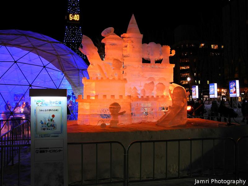 Colourful Lights.<br /> At the Sapporo Snow Festival (Yuki Matsuri).