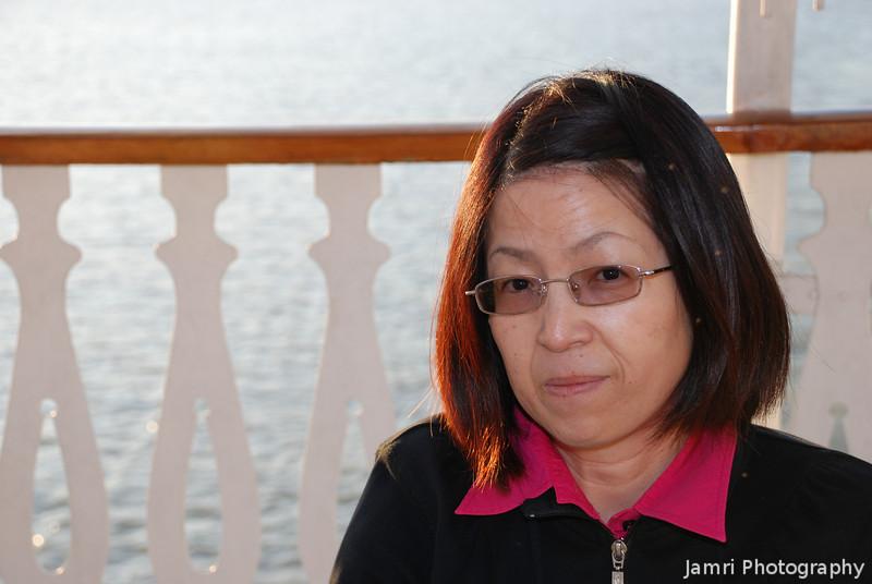 Ritsuko enjoying the cruise on Lake Biwa.