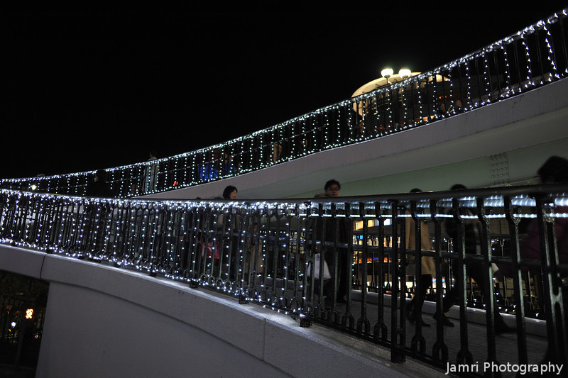 Christmas Lights along the walkway.