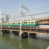 Keihan Local Train.<br /> Approaching Temmabashi Station in Osaka.