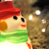 Close Up of a Snowman Garden Gnome.