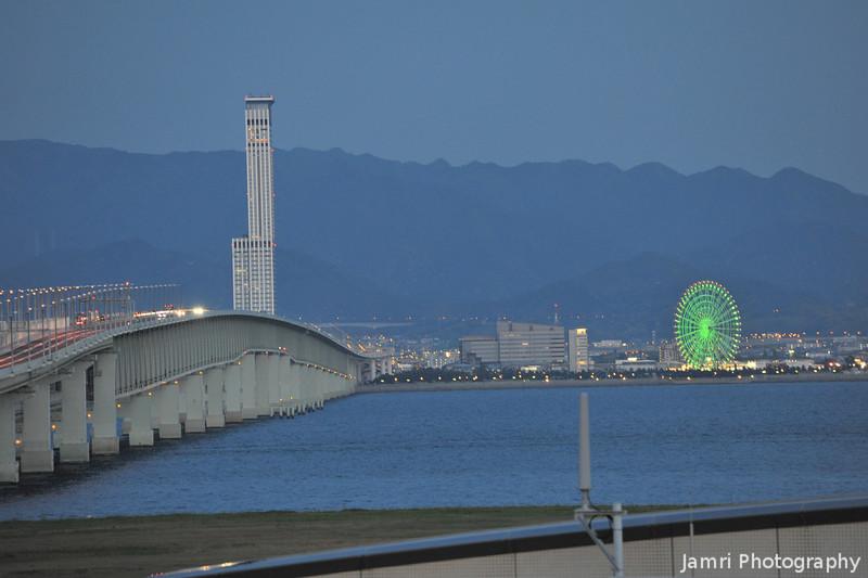 The Bridge at Night.<br /> The 3km long Bridge between Kansai Airport and Honshu.