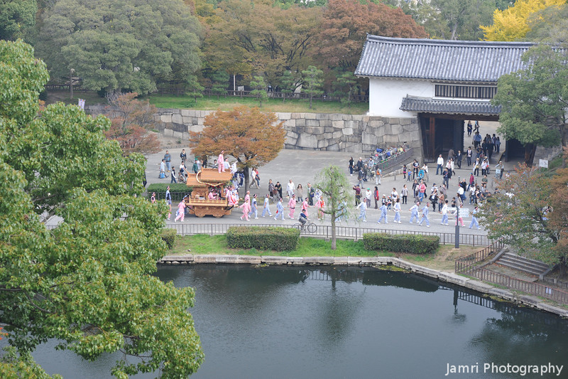 Looking down on a parade.<br /> On Culture Day at Osaka Castle.