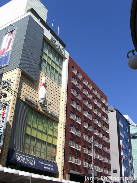 Colourful buildings along Kawaramachi-dori.