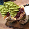 Matcha Parfait.<br /> At a shop in the Yodobashi Camera Building in Kyoto.
