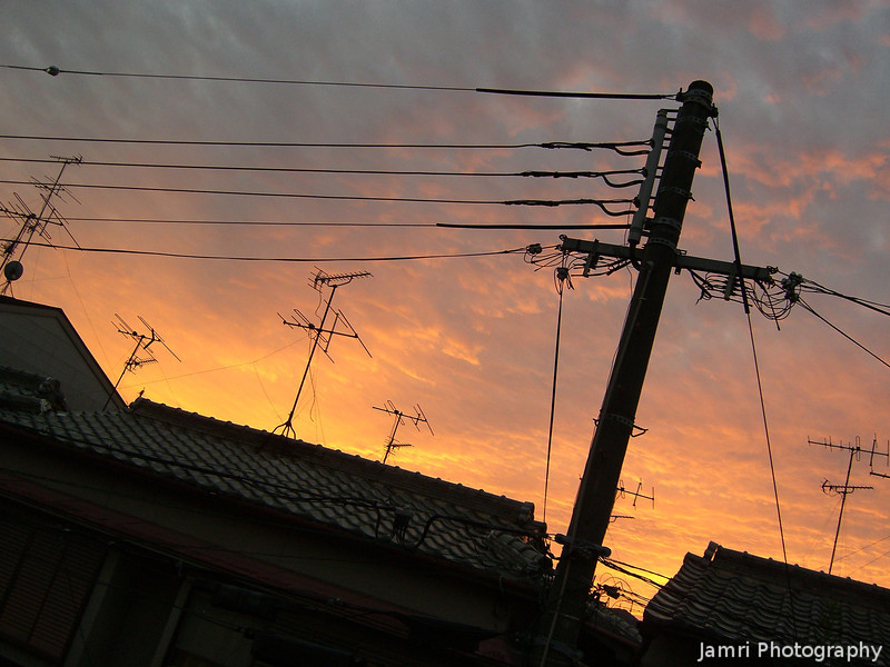 Sunset, Rooftops, Wires, and Antennas.<br /> From my back balcony.