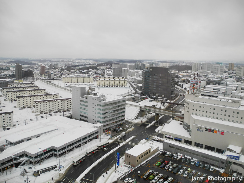 Towards the Shinsapporo Station.<br /> From the room I was staying in the Sapporo Sheraton Hotel.