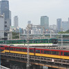 Two Types of Keihan Trains.<br /> Near Keihan Tenmabashi Station in Osaka.