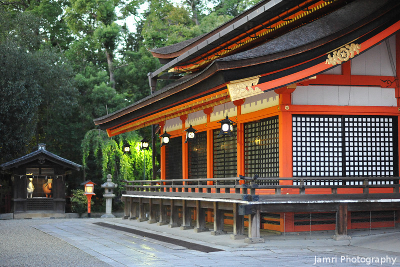 The main shrine building.<br /> The interesting thing is the little building next to the shrine with two life size plastic horses in it!